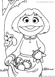 Sesame Street Girl Coloring Page Color Cartoon Characters Pages