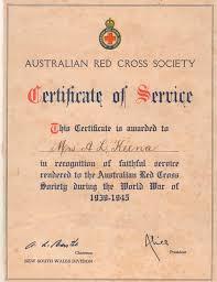 Certificate Of Service Australian Red Cross Society C1945 1 83 On