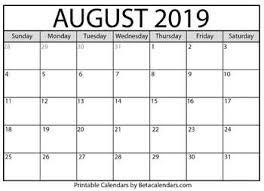 August Calandar Blank August 2019 Calendar Printable