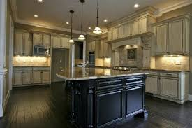 off white cabinets dark floors. antique white kitchen cabinets with dark wood floors | home design antiqued off g