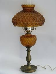 vintage student lamp for desk or table amber glass quilted diamond shade lamps lampshades