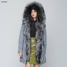 oft 20168 winter jacket women real fur coat long parka natural fox fur thick warm streetwear