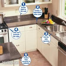 step by step instructions on how to install a pre made plastic laminate countertop in your kitchen or bathroom