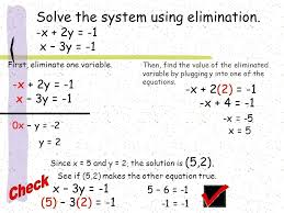 x 3y 1 math check solve the system using elimination x 1 x math curriculum grade