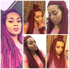Box Braid Hair Style burgundy freetress medium box braids in color 530 crochet 6761 by wearticles.com