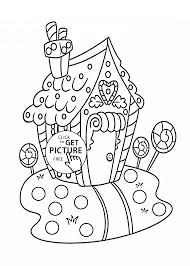 Christmas sweet house coloring pages for kids, printable free ...