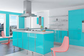 ... 3d Kitchen Plan With Teal Kitchen Cabinet And Modern Pink Dining Chairs  In Home Design ...