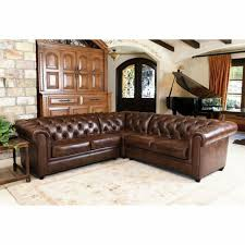 abbyson tuscan top grain leather 3 piece sectional sofa