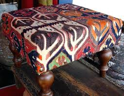 rug covered ottoman one oriental rug covered ottoman