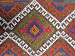 cobalt blue and fiery orange small traditional vintage turkish rug handmade tribal yastik mat 100