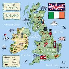 cartoon map of united kingdom and ireland