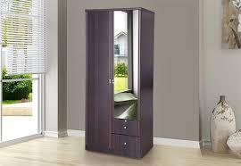 royaloak aletta 2 door wardrobe with safety locks and outside drawers for storage engineered wood