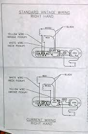 diagrams for 52 62 am rewiring telecaster guitar forum here s the one that came my tele showing the vintage on top and the modern on bottom easy to