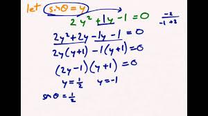 solving quadratic trigonometric equations