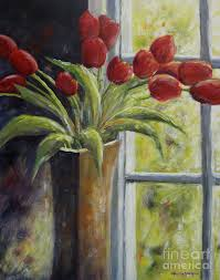 red tulips painting vase of red tulips by marsha young