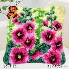 latch hook rug kits diy needlework unfinished pillow rug yarn cushion erflies flowers embroidery carpet for decor gift 40cm patio