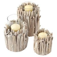 ... Driftwood Candle Holder, Low/Wide - Natural ...