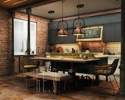 Industrial Kitchen Island Awesome Industrial Kitchen Design Ideas With Nice Chairs And