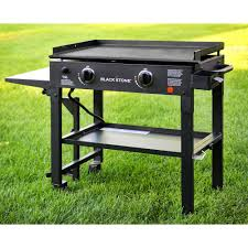28 in 2 burner propane gas grill in black with griddle top