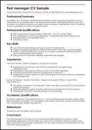 Format For Curriculum Vitae Stunning Test Manager CV Sample MyperfectCV