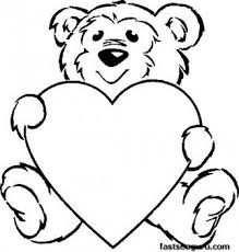 Printable Coloring Pagevalentines Day Teddy Bear With Heart For