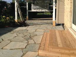 idaho gold flagstone patio with cedar steps flagstone patio in park ridge flagstone patio in park ridge