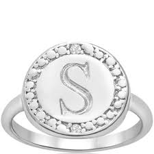 preview with zoom hansa usa s initial diamond ring in sterling silver