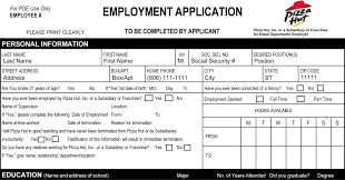Job Applications Pizza Hut Job Application Printable Job Employment Forms 23