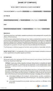 Noncompete Clause Non Compete Agreement Arizona Template Noncompete Agreement Form