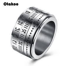 Rotating Numbers Otakoo Stainless Steel Gear Ring For Women Men Spin Rotating Numbers