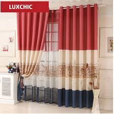 red blue color block cartoon linen curtains for living room kids curtains for bedroom window
