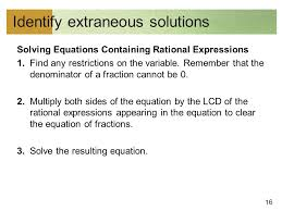 16 identify extraneous solutions solving equations containing rational expressions 1
