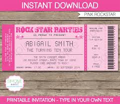 Concert Ticket Invitation Template Rockstar Birthday Party Ticket Invitations Template Pink 1
