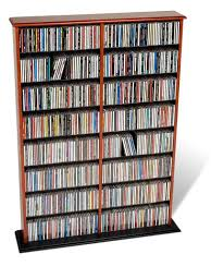 Cherry Wood Dvd Storage Cabinet Amazoncom Prepac Cherry Double Width Wall Media Dvdcdgames