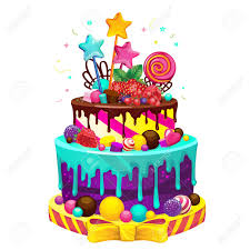 Happy Birthday Cake Bright Vector Isolated Illustration Of A