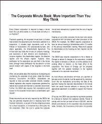 Minute Book Template Ontario Corporate Sample Templates Btcromania