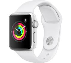 Buy APPLE Watch Series 3 - Silver & White Sports Band, 38 mm | Free  Delivery
