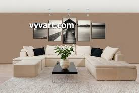 Living Room Art Decor 5 Piece Grey Canvas Ocean Wall Decor