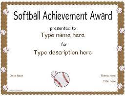 softball award certificate sports certificate softball achivement award certificatestreet