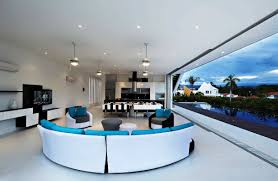 Silver And White Living Room Modern Retractable Wall Mixed With Cool Black And White Living