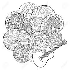 guitar coloring book vector ilration black and white lines lace pattern stock vector