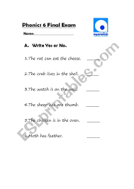 So far you can see we have a variety of sets of worksheets that deal with beginning sounds and rhyming and we are working on more. Jolly Phonics Phase 6 Test Assessment Esl Worksheet By Metalicman