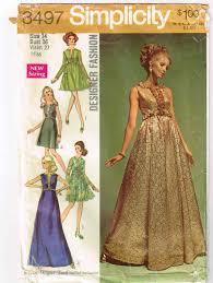 Designer Evening Gown Patterns Vintage 1969 Simplicity Designer Fashion Pattern 8497