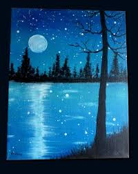 12 create a masterpiece showing a full moon on a starry night near a river