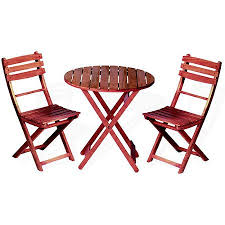 get ations wooden 3 piece bistro set with folding chairs