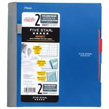 Five Star Graph Paper Notebook Five Star Advance Spiral Notebook 2 Subject College Quad