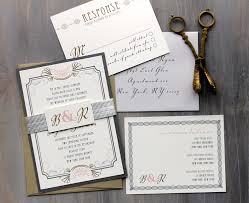 Art Deco Love Wedding Invitation Gray Pink Gold Old