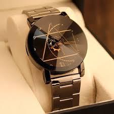 gear geometric steel band quartz watch