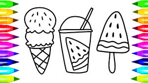 How To Draw Watermelon Juice Coloring Pages Kids Songs Learn