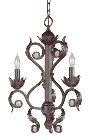 3 lights hand painted wrought iron mini chandelier